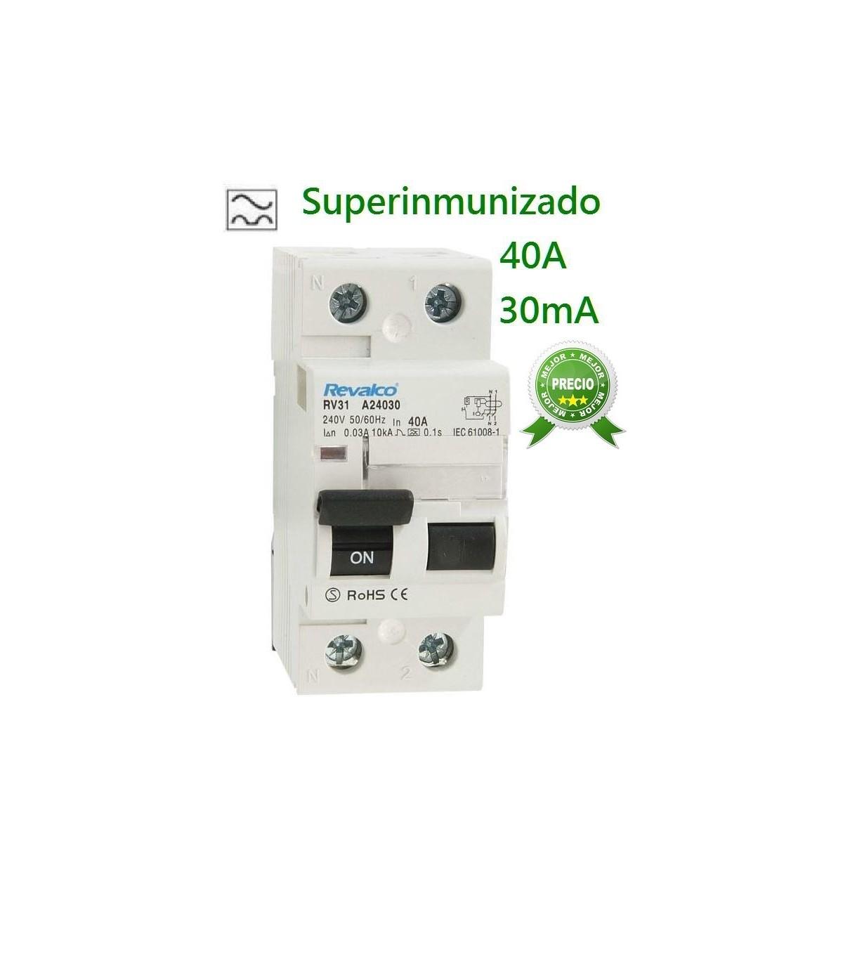 Interruptor diferencial superinmunizado 40 A 30 mA 2P Clase A Si y 10kA.