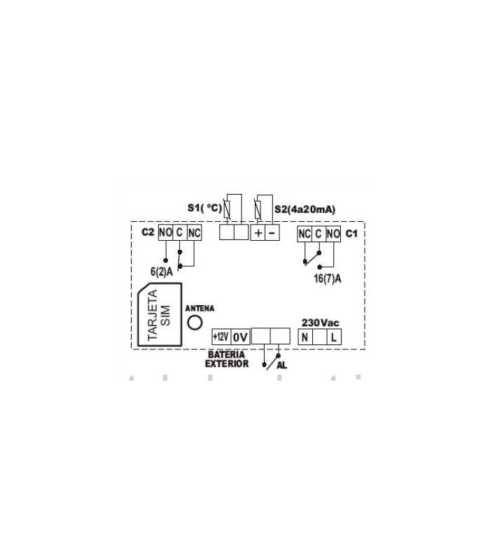 Controlador GSM 4 entradas 2 salidas 16A con sonda de temperatura