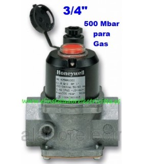 "Electroválvula de gas con rearme manual N/C 220V 3/4"" 500bar"
