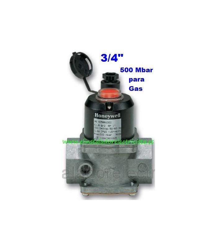 """Electroválvula de gas con rearme manual N/C 220V 3/8"""" 500bar"""