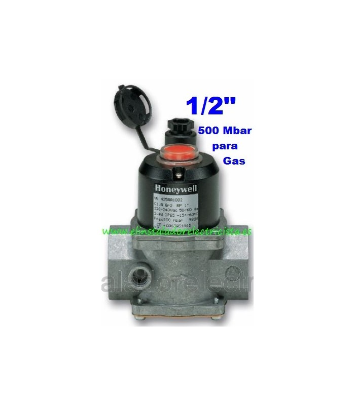 "Electroválvula de gas con rearme manual N/C 220V 1/2"""