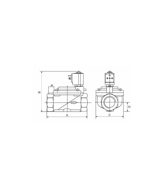 "Electroválvula agua 3/4"" máx. 16bar N/A 220V c/rearme manual"