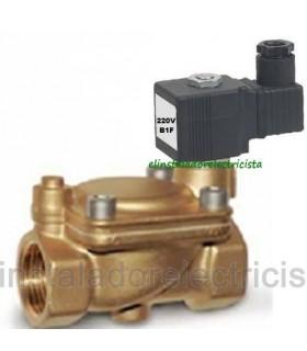 """Electroválvula agua servocomandada 3/8"""" 16 bar N/C 220V"""