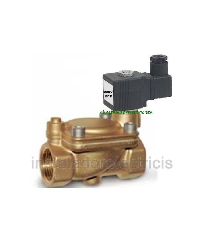 """Electroválvula servocomandada agua 1/2""""  16bar N/C 220V"""