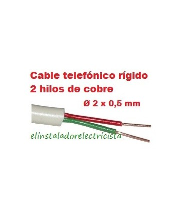 Cable telefónico 2 hilos rígido 100 metros redondo color marfil