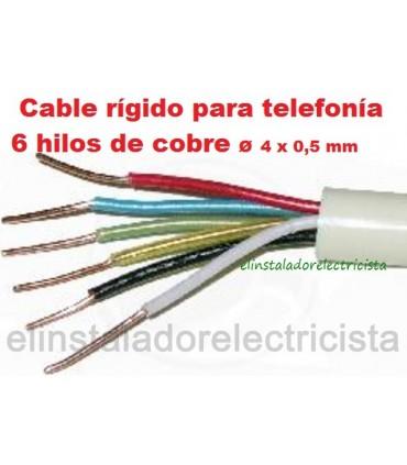 Cable telefónico 6 hilos rígido 100 metros redondo color marfil