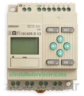 10C4DR-D-V2 Zen Omron Sal. relé LCD RTC RS485 12-24 DC