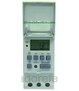 Reloj Digital Programable Electrónico Diario/Semanal carril Din 220V