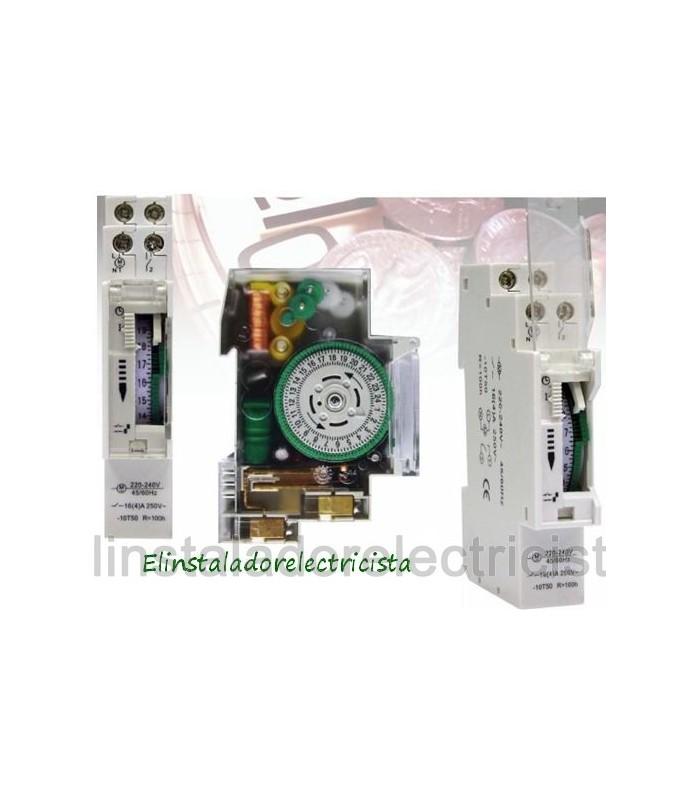 Reloj horario mecánico 24h 16A 240Vac 1 módulo