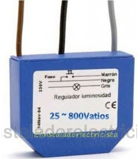 Regulador Dimmer 25/800 Vatios con filtro de interferencias