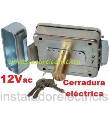 Cerradura eléctrica reversible perfil cilíndrico con contra boquilla lateral V9083