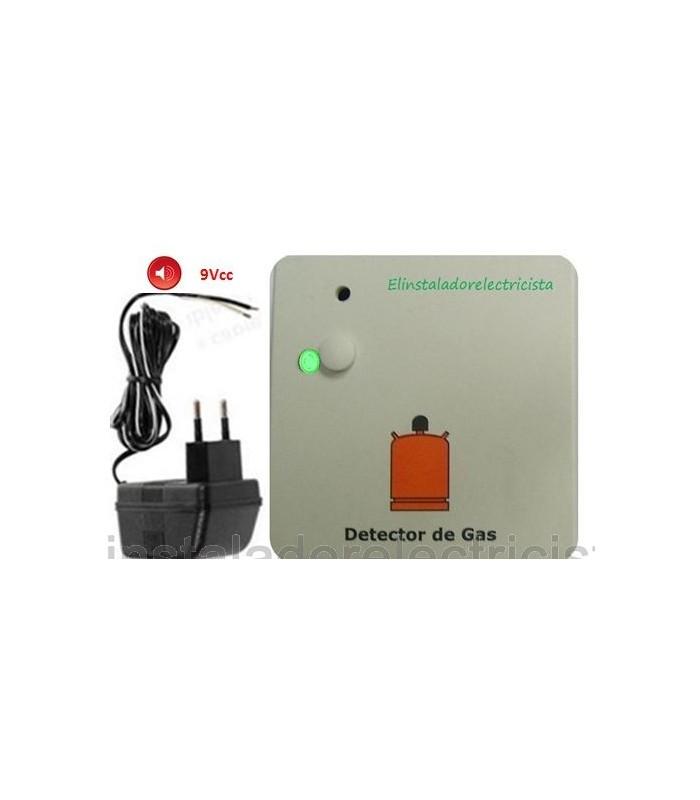 Detector de gas con alarma óptica y sonóra + alimentador 9Vcc