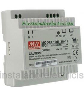 Fuente de Alimentacion carril Din 30w entrada 85A 12VDC 2A.