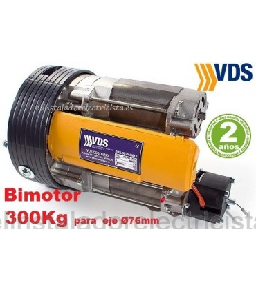 Bimotor 300K 240/2M enrollable corona 240, eje 76mm