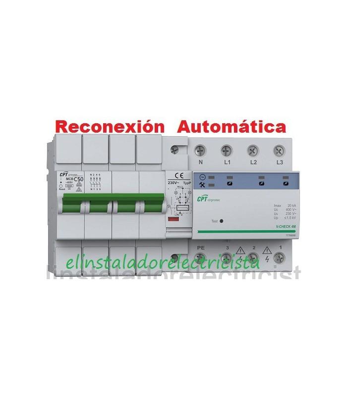 Protector Combinado Sobretensiones reconexión automática 50A 3P+N