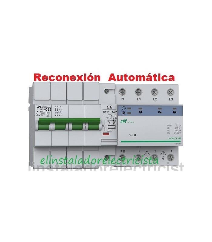 Protector Combinado Sobretensiones reconexión automática 63A 3P+N