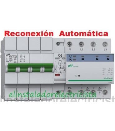 Protector 63A Combinado Sobretensiones reconexión automática 3P+N