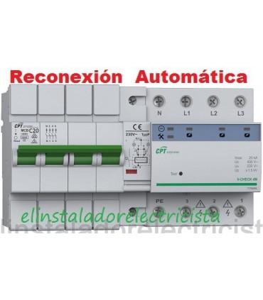 Protector 20A Combinado Sobretensiones reconexión automática 3P+N