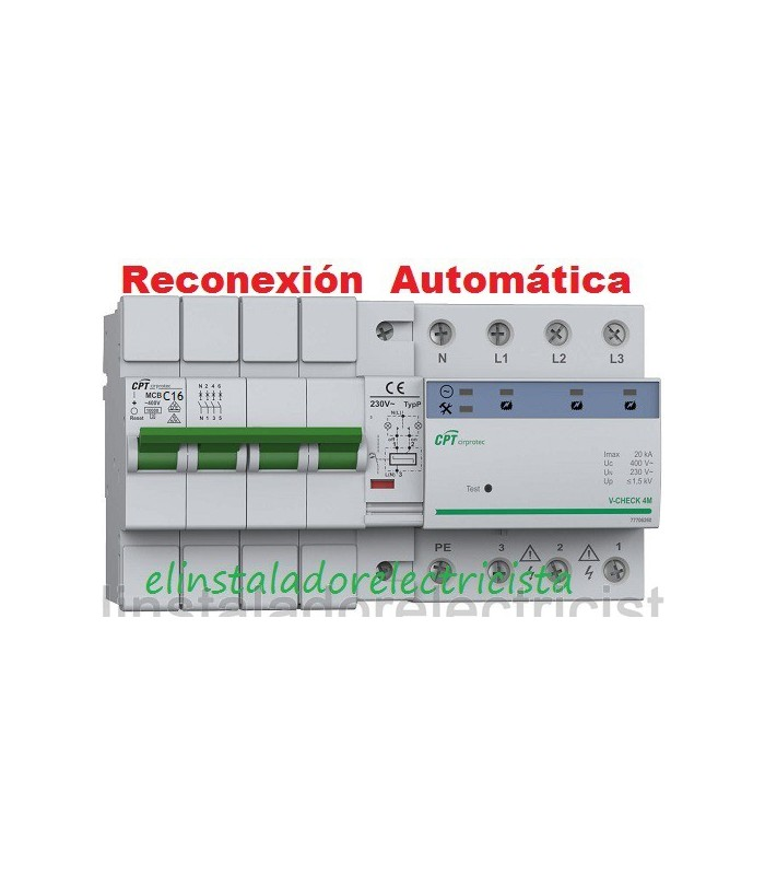 Protector Combinado Sobretensiones reconexión automática 16A 3P+N