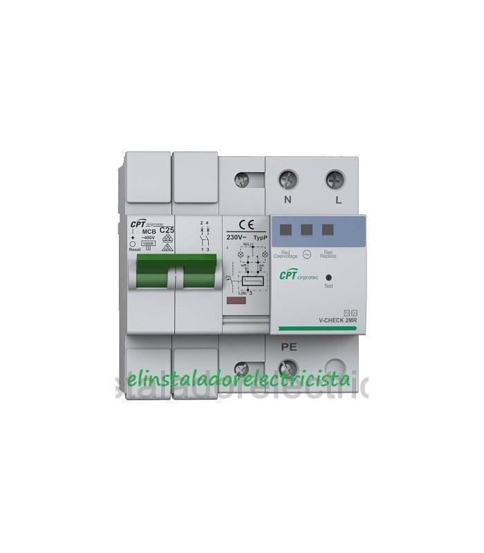 Protector Combinado contra Sobretensiones con reconexión automática 2P 25A
