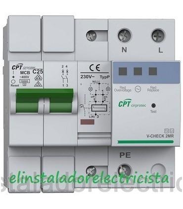 Protector 25A Combinado Sobretensiones con reconexión 2P