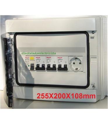 Armario exterior 12 elementos equipado con diferencial 25A 3 automáticos y enchufe Din