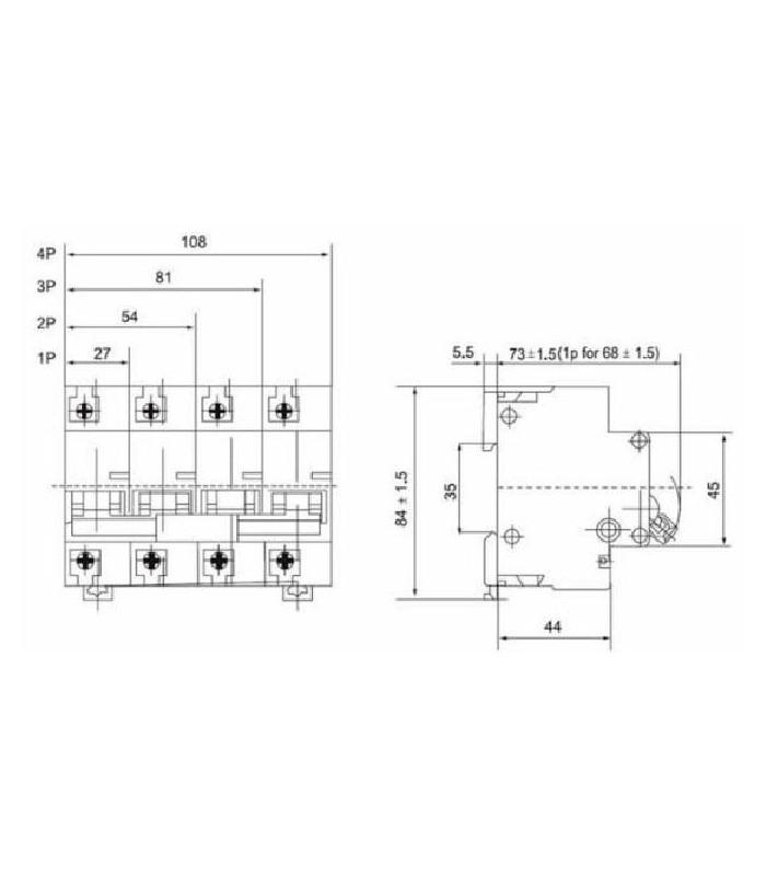 Interruptor Automático Magneto-térmico 4 polos 63A  Curva C 6kA