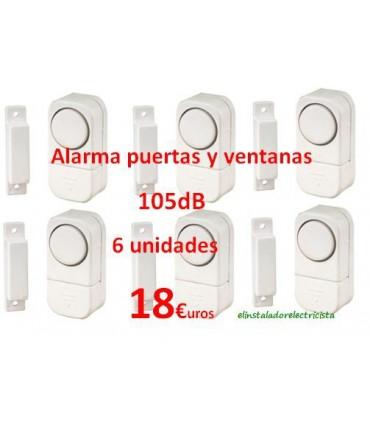 (6 unidades) Alarma para puertas y ventanas 105dB
