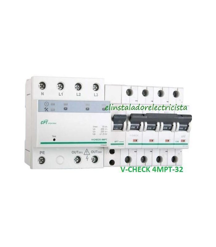 Protector combinado DSP+POP sobretensiónes Trifásico 32A 3P+N
