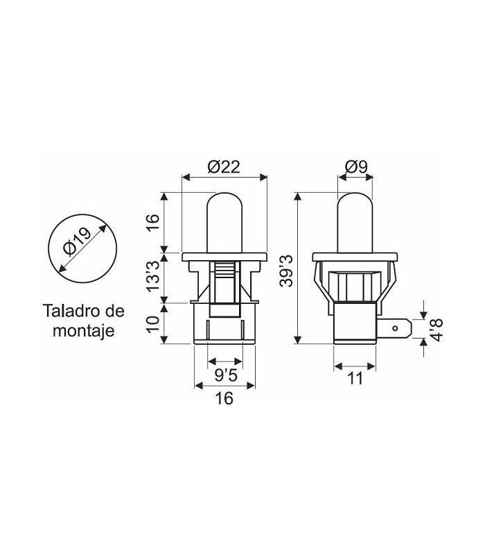 Pulsador empotrable Ø19mm salida axial (Pack 10 unidades)