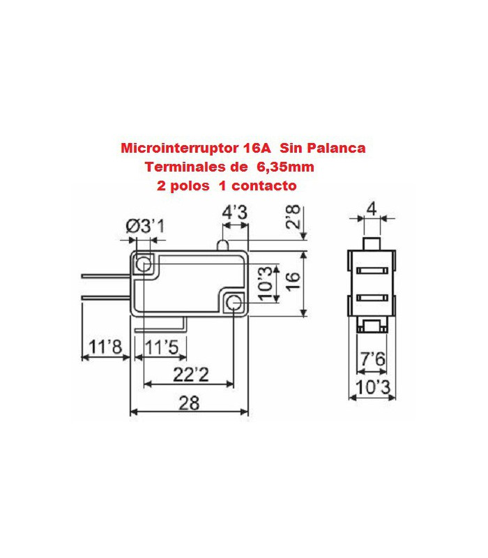 Microinterruptor monocontacto 16A sin palanca (Pack 25 unidades)