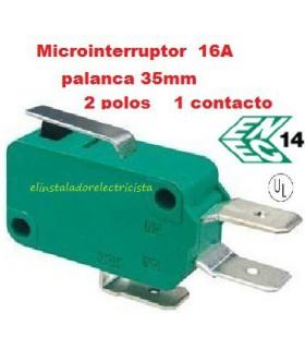 Microinterruptor monocontacto16A con palanca de 35mm (Pack 25 unidades)