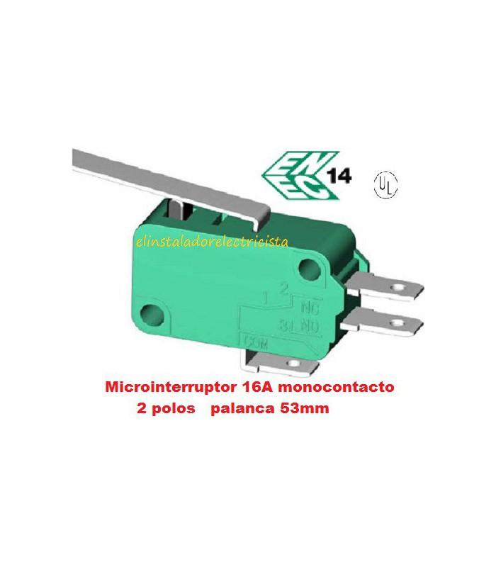 Microinterruptor monocontacto 16A con palanca de 53mm (Pack 25 unidades)