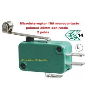 Microinterruptor monocontacto 16A palanca 28mm con rueda (Pack 25 unidades)