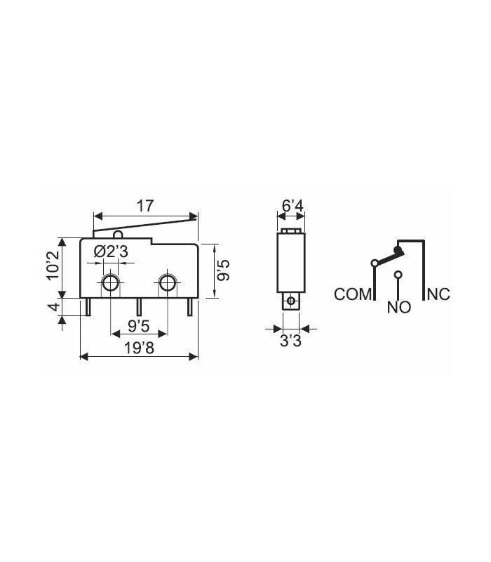 Microinterruptor 3A  con palanca 17mm circuito impreso (Pack 25 unidades)