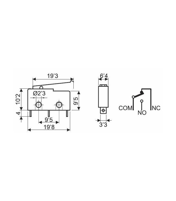 Microinterruptor 3A con palanca 19,3mm circuito impreso (Pack 25 unidades)
