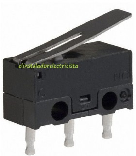 Microinterruptor 12,8mm 2Amp con palnca 13mm (Pack 25 unidades)