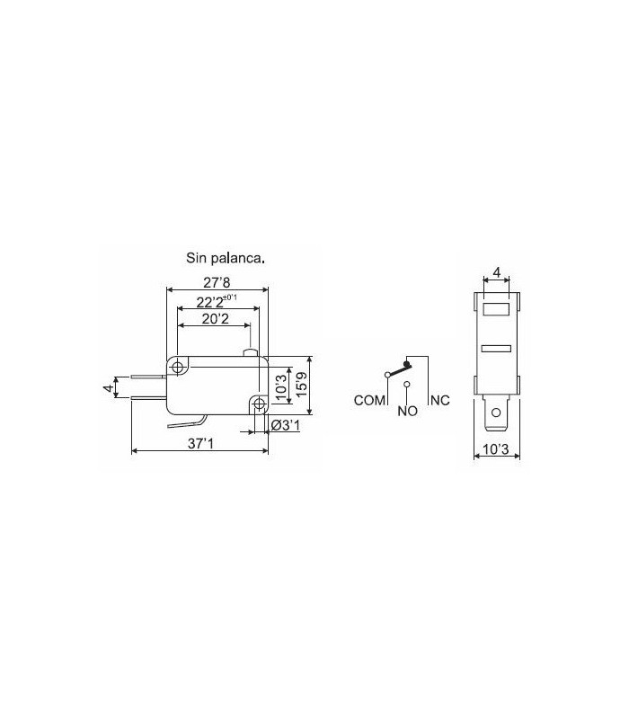 Microinterruptor 6A con palanca 28mm (Pack 25 unidades)