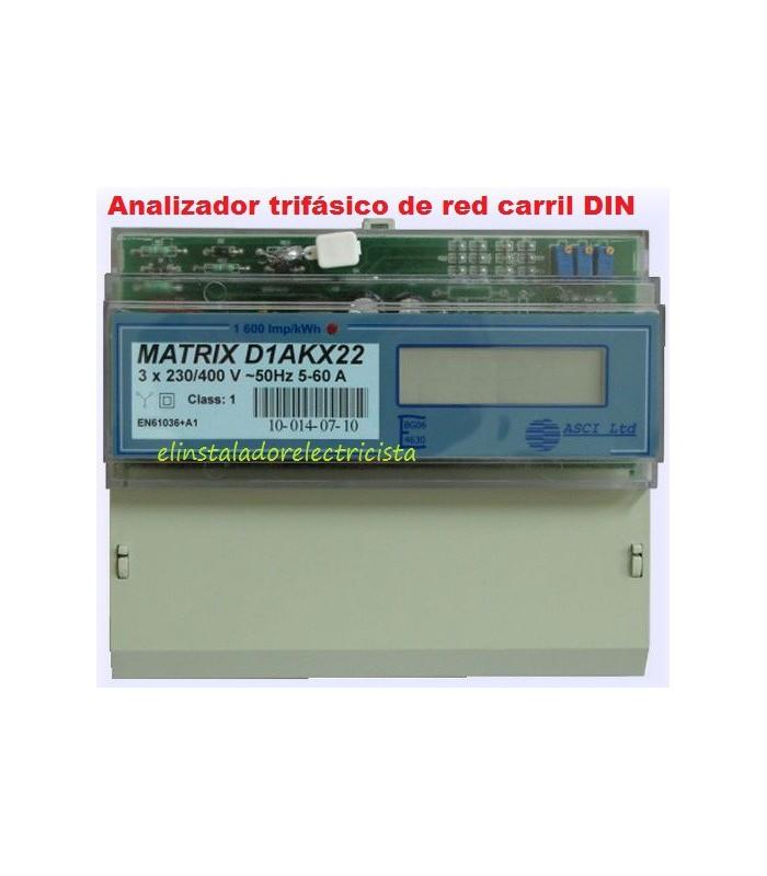 Analizador Trifásico de red con display carril DIN