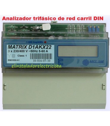 Analizador Trifásico de red con display carril DIN