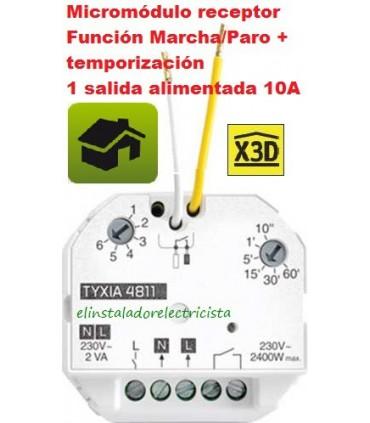 Micromódulo receptor Función on/off + temporización 1 salida alimentada 10A TYXIA 4811