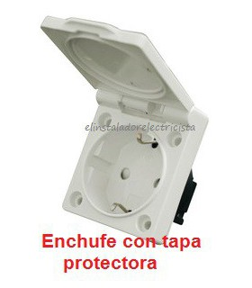 Base de enchufe empotrable con tapa (4 unidades)