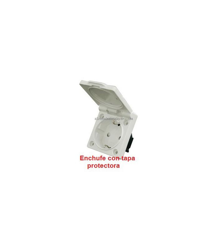 Base de enchufe empotrable con tapa (4 unidades)