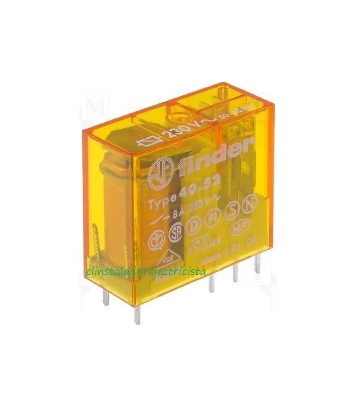 Mini-relé Finder 40.52 para circuito impreso enchufable 8A 2 contactos