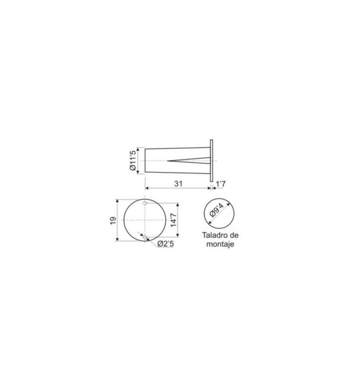 (5 unidades) Interruptor magnético empotrable N/C taladro Ø 9,4mm.