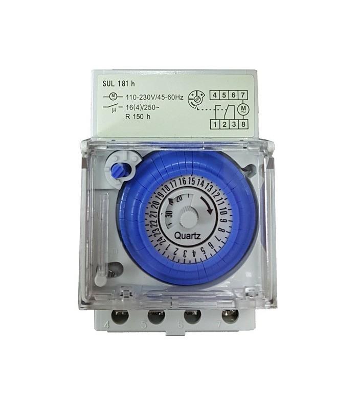 Temporizador horario electromecánico 16A tiempo reserva 150 horas
