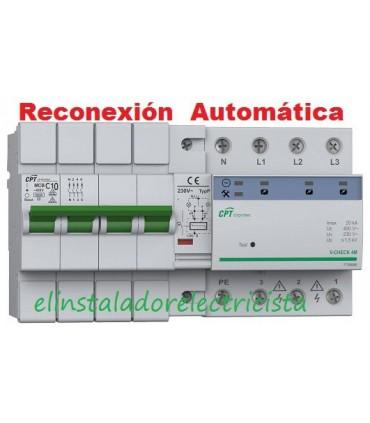 Protector 10A Combinado Sobretensiones reconexión automática 3P+N