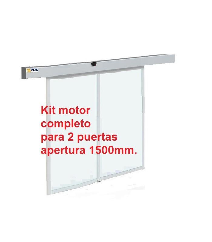 Kit  puerta automática de cristal 2 hojas paso 1500mm