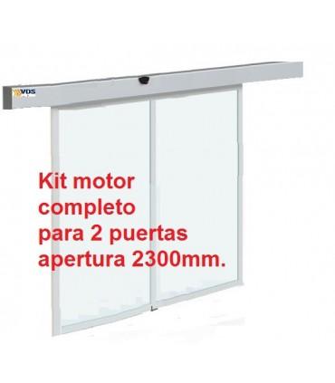 Kit puerta automática de cristal 2 hojas paso 2300mm