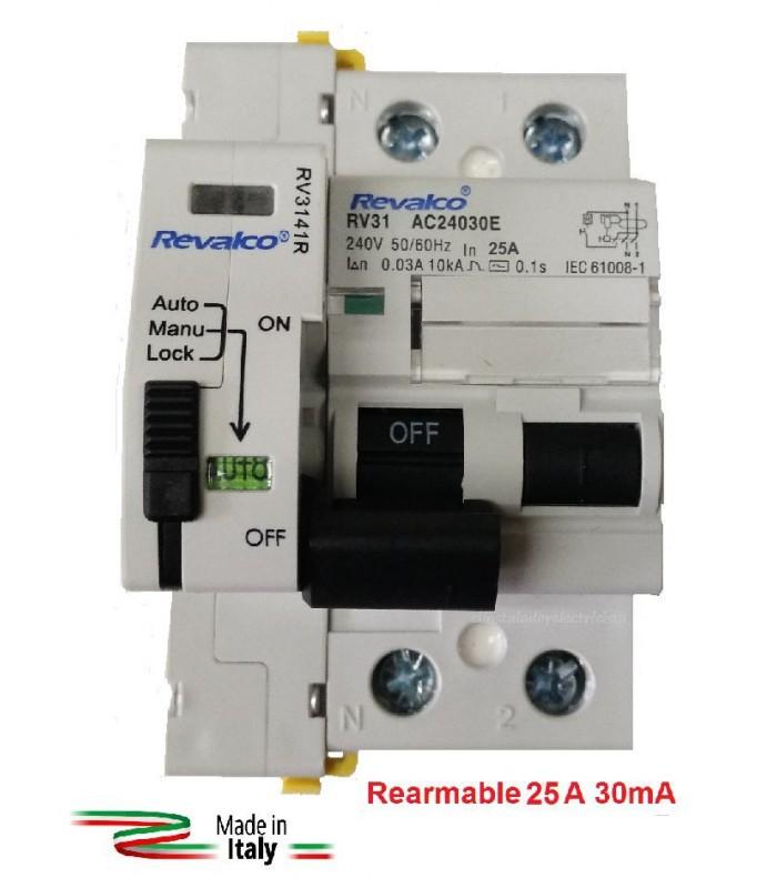 Diferencial 25A 30mA Rearmable 2P 10kA